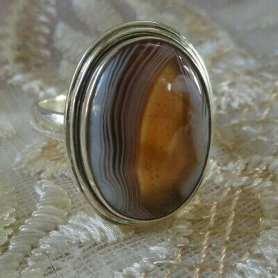 Brown/Beige Banded Agate 925 Sterling Silver Ring Size 9 Oval Shaped Stone