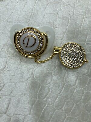 D Initial Bling Romany Style White Gold Baby Dummy & Clip * Pacifier * Soother *