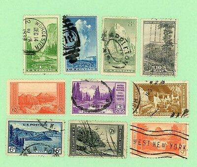 USA 10 stamps, SC 740 - 749, National Parks, 1934, used