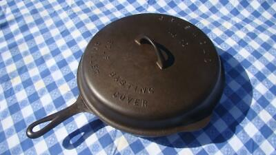 Vintage Griswold No.10 Cast Iron 716A Skillet And Self Basting Cover 1050