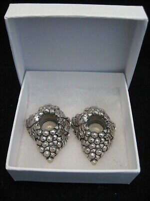 """Pair 1.75"""" Pewter Grape Cluster Taper Candle Holders"""
