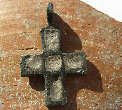 Ancient Viking Bronze Cross Pendant with enamels 9-10 centuries