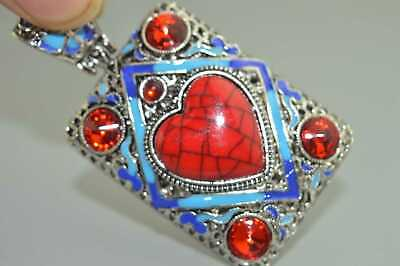 Collection Handwork Decor Old Miao SIlver Carve Flower Inlay Agate Tibet Pendant