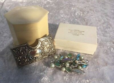Collection Vintage Items Kramer Brooch Ivorine Box Edwardian Card Holder