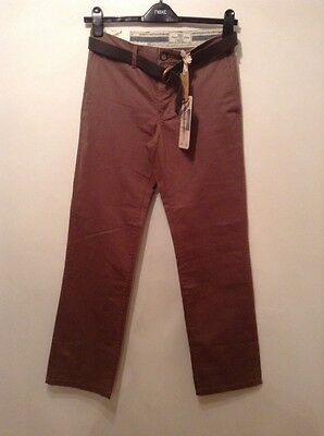 BNWT 👤Next 👤 W 28 Regular Mens Brown Cotton Belted Trousers Straight Leg New