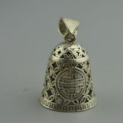 China Collectable Handwork Old Miao Silver Carve Flower Hollow Usable Pendant