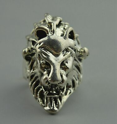 Collectable Handwork Decor Old Miao Silver Carve Lion Head Auspicious Use Ring