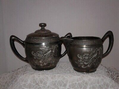 Simpson, Hall, Miller & Co. Quadruple Plate Pewter Covered Sugar Bowl & Creamer