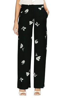 Vince Camuto Women's Pull-On Floral Print Wide Leg Pants Black Size 0