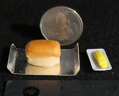 DOLLHOUSE 1:12 Miniature Lola Loaf of Sliced WHITE Bread w//GREEN Tie