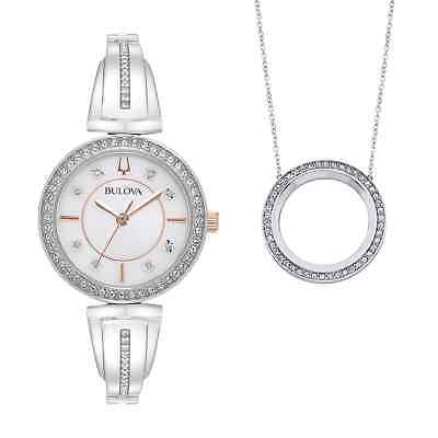 Bulova Women's Quartz Swarovski Crystals Watch and Pendant Box Set 30mm 98X121