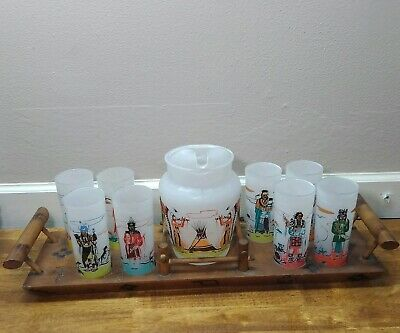 Knox Oil Acee Blue Eagle Famous Oklahoma Indians Set 8 Glasses Pitcher Tray