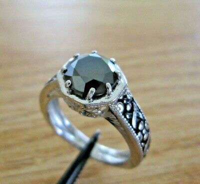 2.25ct REAL NATURAL BLACK DIAMOND RING,APPRAISAL & FREE DIA TESTER,ANTIQUE STYLE
