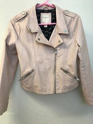 Forever 21 Pastel Blush Pale Pink Faux Leather Moto Light Jacket Girls 13/14 Zip