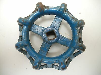 "Vintage 3.5"" Blue Industrial Metal Outdoor Faucet Hose Bib Handle Knob Steampunk"