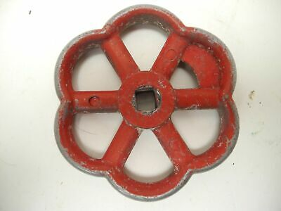 "Vintage 3"" Red Industrial Metal Outdoor Faucet Hose Bib Handle Knob Steampunk"
