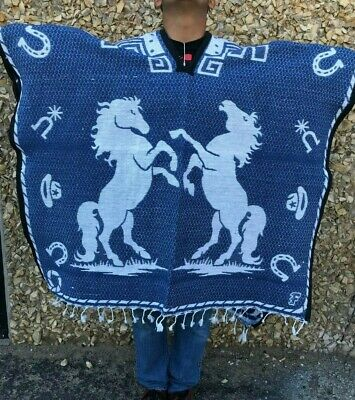 Mexican Poncho , Horse , Blanket Sarape Gaban ,One Size Fits All ,  Blue & White