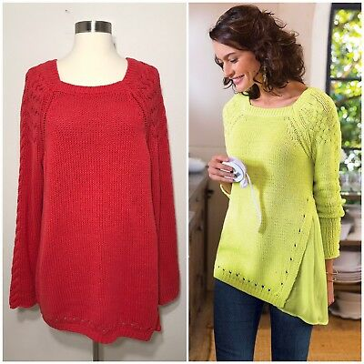 Soft Surroundings Square Neck Chunky Knit Sweater Tunic Red Womens Size L Large