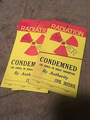 Vintage Fallout Shelter CondeMned body Tag Disaster Tags 31 Pieces