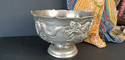 Old Chinese Silver Plated Dragon Bowl …beautiful accent & display piece
