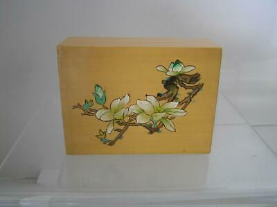 Small Natural wood Lacquer Trinket Box hand painted Floral Oriental Asian 3x4