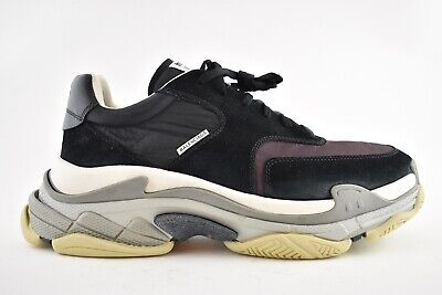 BALENCIAGA TRIPLE S Mens V2 Black Burgundy Nylon Speed