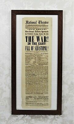 Antique 19th Century 1855 Boston Theater Poster Broadside The War in the East