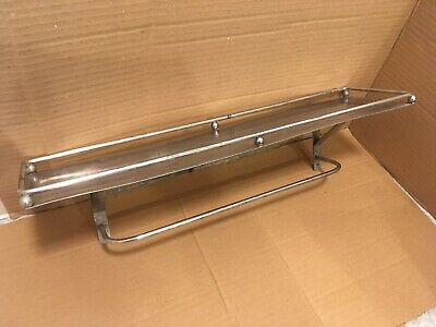 VINTAGE INDUSTRIAL METAL BATHROOM KITCHEN WALL SHELF w/ RAILING & TOWEL BAR 16""