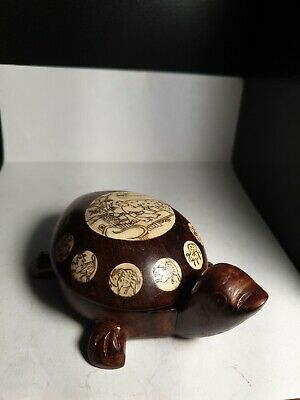Turtle shaped inlay cased compass asian decorative piece
