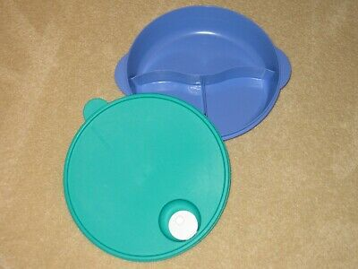 "Tupperware Crystalwave Large 10"" Divided Microwave Blue Green Dish & Vented Seal"