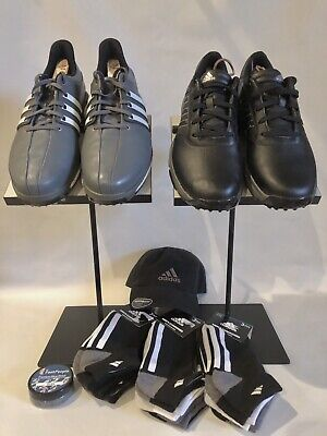 Adidas Tour 360 Boost Gray & Black Bounce Golf Shoes Mens 10.5 + 9 Socks & Hat