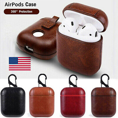 Portable Hard Leather Cover Carry Holder Bag Clip Case for Apple Air Pods Airpod