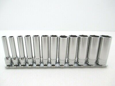 SNAP ON 12 Piece Deep Metric Socket Set 1/4 Drive, 5-15mm, Chrome, NICE 112STMMY