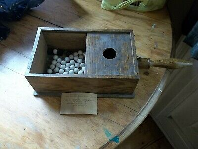 Ca 1900 Masonic Oak Ballot box with white clay marbles, blackballs, Hudson NY