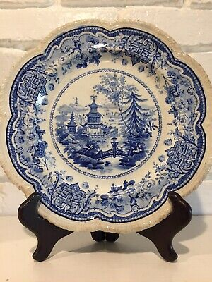 Antique Beautiful Chinese Pagoda And Bridge Blue And White Plate