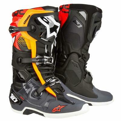 Alpinestars Motocross-Stiefel Tech 10 Schwarz/Grau/Orange/Rot Fluo
