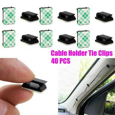 Lot 40* Car Wire Cord Cable Holder Tie Clips Fixer Organizer Drop Adhesive Clamp