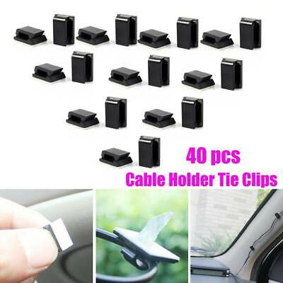 40* Car Wire Cord Cable Holder Tie Clips Fixer Organizer Drop Adhesive Clamp New