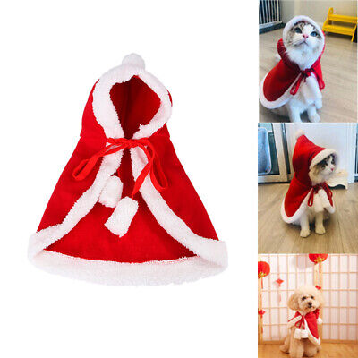 Christmas Santa Claus Cloak Hooded Pet Dog Cat Clothes Costume Xmas Cosplay