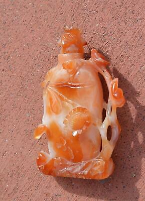 1930's Chinese Agate Carnelian Carved Carving Flower Snuff Bottle