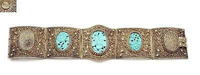 Chinese Turquoise Carved Plaque Silver Plated NOT SILVER Filigree Bracelet Mk