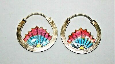 Antique Signed Silver Chinese Sterling Silver & Enamel Hoop Earrings