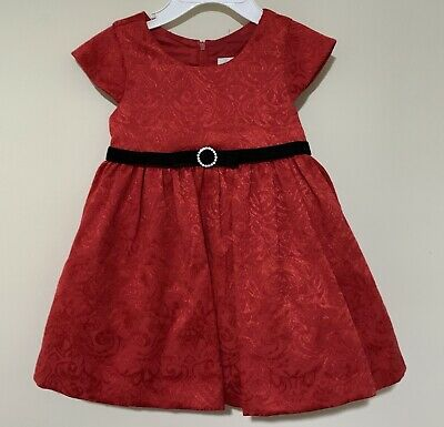 RARE EDITIONS Christmas Holiday Red Party Dress Infant Baby Girl 12 Months