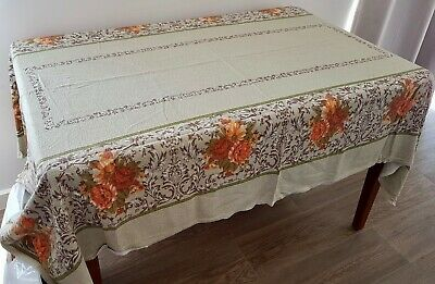 Vintage Green Orange FLORAL Cotton Blend Cutter TABLECLOTH Craft Sew Projects