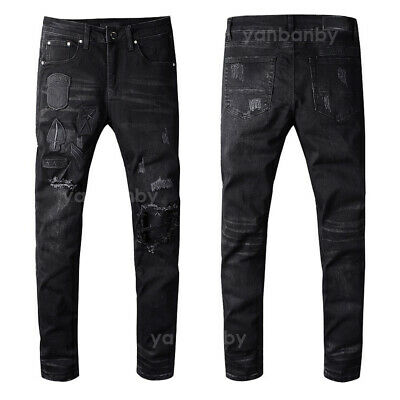 New Men/'s Italy Pop Style Slim Patches Pants Frayed Blue Distressed Jeans D8025T