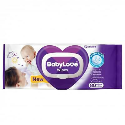Babylove Wipes - 80 Pack Fragrance Free Hypoallergenic Alcohol Free