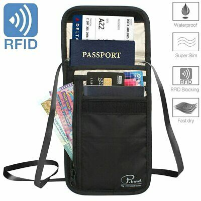 RFID Blocking Bag Passport Card Holder Security Travel Wallet Neck Stash Pouch