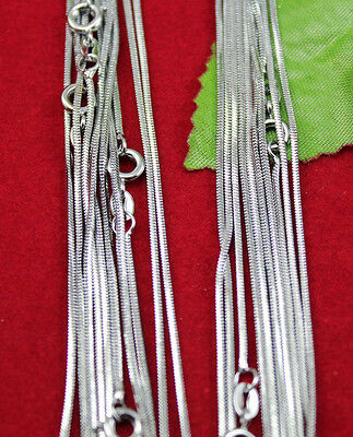 wholesale lots 10pcs Silver 1.0mm Cuban Snake Chain Necklace Free shipping LT11
