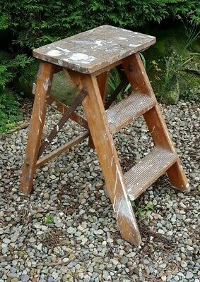 Antique / Vintage Wooden Stool Small  Steps Library Ladders Folding  Kitchen