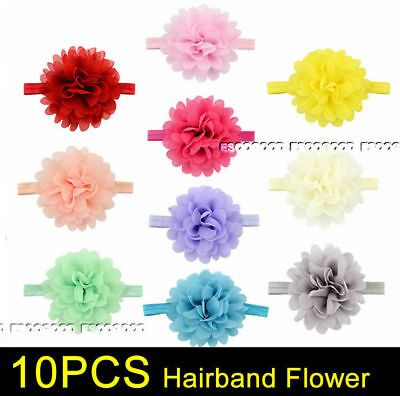 10PCS NEWBORN Baby Girls Flower Hairband Soft Elastic Headband Hair Band Pink